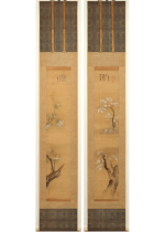 [:ja]狩野探幽画 大徳寺二百一世 春澤宗晃賛 桜ニ海棠 双幅[:en]Painted by Kano Tan'yu, inscription by Shuntaku Soukou / 2 Hanging scrolls of cherry tree and crab apple tree[:]