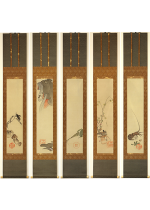 [:ja]野村文挙  戯画五節句 五幅対[:en]Nomura Bunkyo / 5 Hanging scrolls of the five seasonal festivals[:]