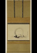 狩野栄川院 浪玉兔之図