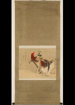 [:ja]町野笠澤画 石川依平賛 白菊雙鶏図[:en]Two Chickens and white  chrysanthemums[:]
