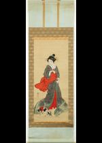 [:ja]渡辺南岳 和美人矮狗図[:en]Watanabe Nangaku / Beautiful woman and Japanese spaniel[:]