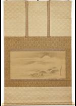 狩野探幽 桜中富岳図 大幅