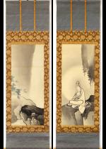 [:ja]橋本雅邦 観音 瀑布 双幅[:en]Hashimoto Gaho / 2 Hanging scrolls of waterfalls, kannon[:]